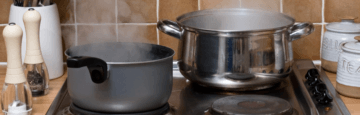 Condensation from pans on the cooker