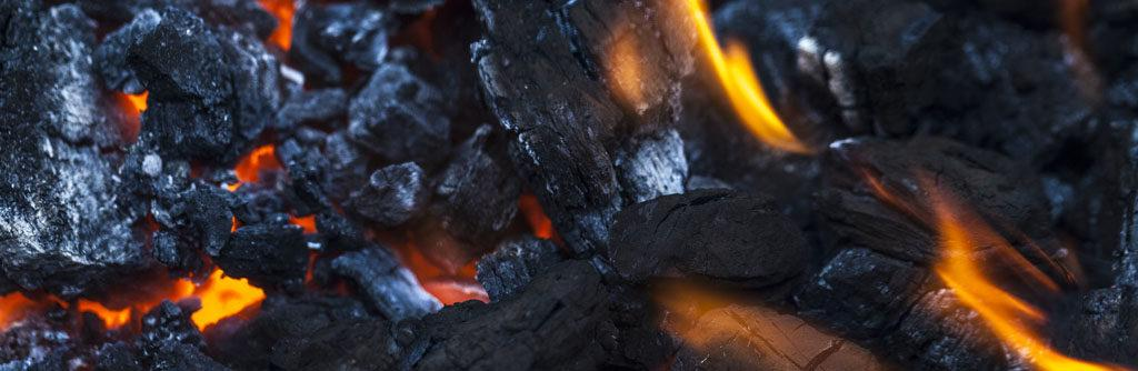 Coal burning in the fireplace